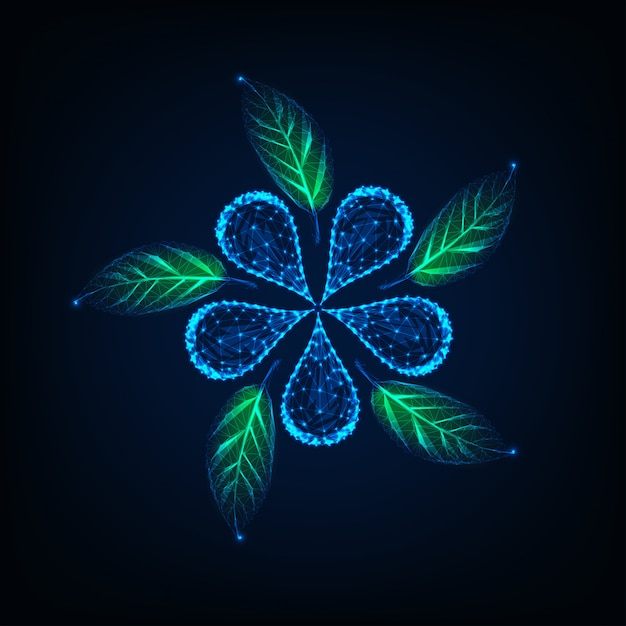 Futuristic glowing low poly flower and green leaves made of lines Premium Vector