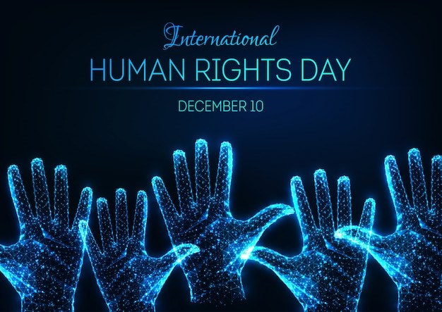 Futuristic glowing low poly international human rights day banner with raised up open hands Premium Vector