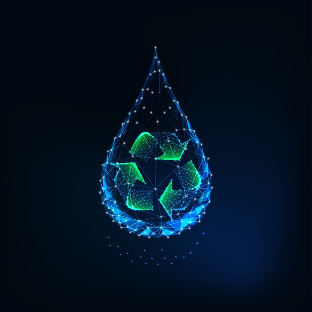 Futuristic glowing low poly water drop with recycle sign inside Premium Vector