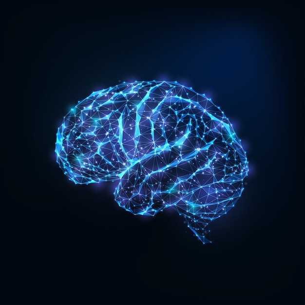Futuristic glowing low polygonal brain as connected lines, stars isolated on dark blue Premium Vector