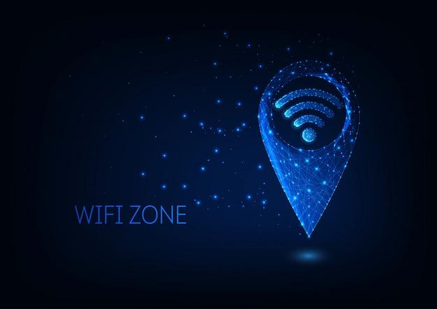 暗い青色の背景に分離された未来の輝く低ポリゴンgpsとwifiシンボル。 Premiumベクター