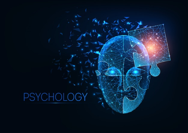 Futuristic glowing low polygonal human head made of jigsaw puzzle pieces on dark blue background. Premium Vector