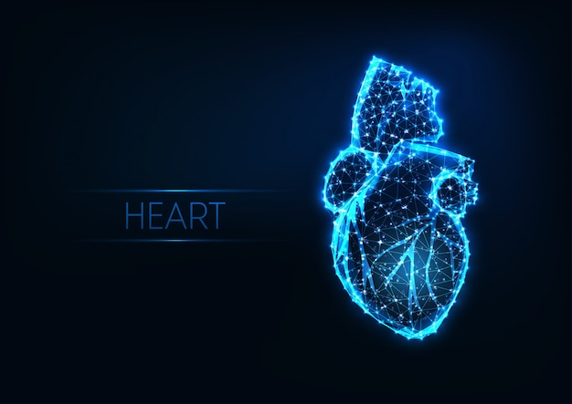 Futuristic glowing low polygonal human heart isolated Premium Vector
