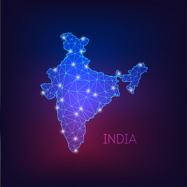 Futuristic glowing low polygonal india map silhouette isolated on dark blue to purple background. Premium Vector