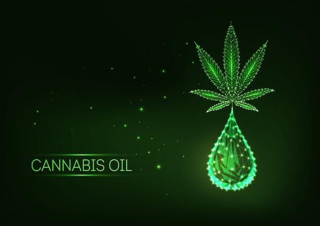 カンナビジオールのドロップで未来的な輝く低多角形医療大麻葉。 Premiumベクター