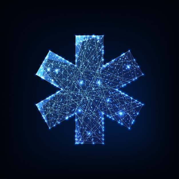 Futuristic glowing low polygonal medical symbol star of life isolated on dark blue background. Premium Vector