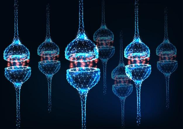 Футуристический светящийся низкий многоугольной нейрон синапса на синем фоне. Premium векторы