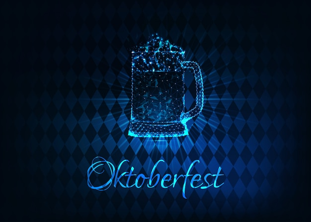Futuristic glowing low polygonal oktoberfest poster with glass beer mug Premium Vector