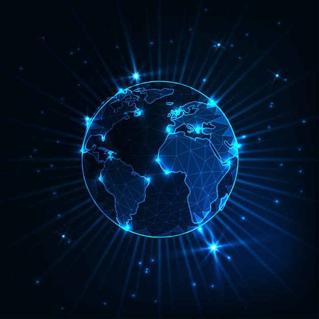 Futuristic glowing low polygonal planet earth globe Premium Vector
