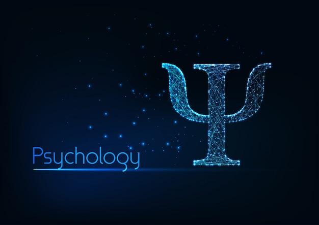 Футуристический светящийся низким полигональных пси письмо, символ психологии, изолированных на синем фоне. Premium векторы