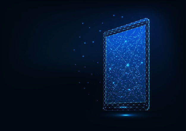 Futuristic glowing low polygonal tablet isolated on dark blue background. Premium Vector