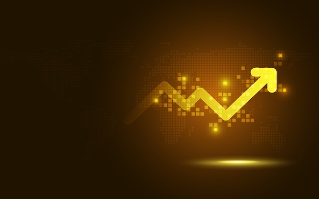 Futuristic gold raise arrow chart abstract technology background Premium Vector