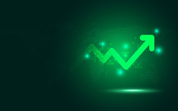 Futuristic green raise arrow chart abstract technology background Premium Vector