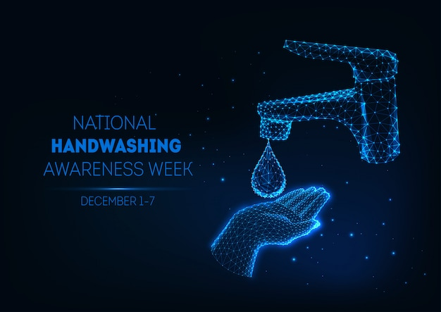 Futuristic handwashing banner with glowing low polygonal human hand, water drop and bathroom faucet. Premium Vector