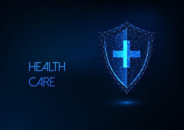 未来的なヘルスケア、病気の保護、輝く低ポリシールドとクロスの免疫の概念 Premiumベクター