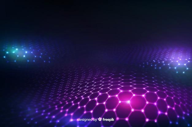 Futuristic hexagonal net in gradient violet background Free Vector