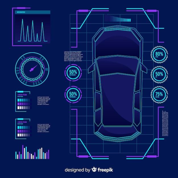 Futuristic hologram of a car Free Vector