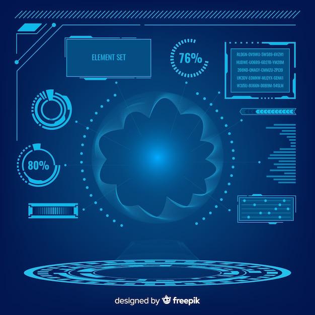 미래 홀로그램 Infographic 요소 컬렉션 프리미엄 벡터
