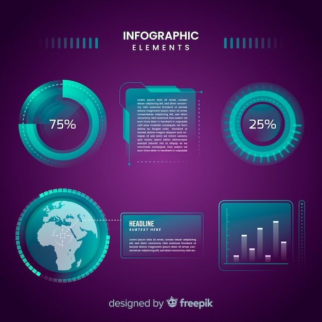 Futuristic hologram infographic element collection Free Vector