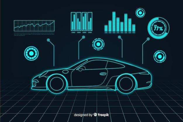 車の未来的なホログラム Premiumベクター