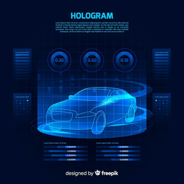 車の未来的なホログラフィックインターフェース 無料ベクター