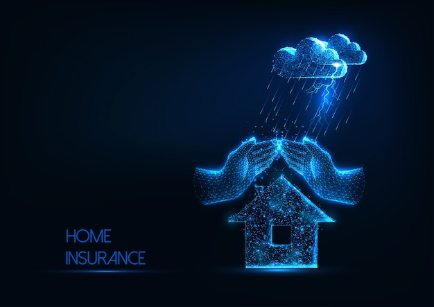 Futuristic home insurance concept with glowing low polygonal house, hands and storm clouds Premium Vector