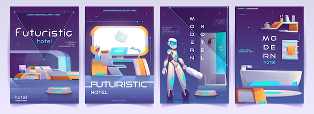 Futuristic hotel banners set, apartment posters Free Vector