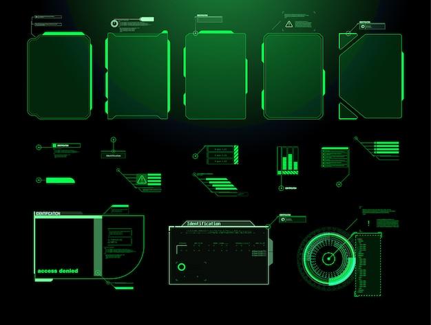 Футуристический экран интерфейса hud. названия цифровых выносок. hud ui gui набор элементов экрана футуристический пользовательский интерфейс. высокотехнологичный экран для видеоигр. научно-фантастическая концепция дизайна. Premium векторы