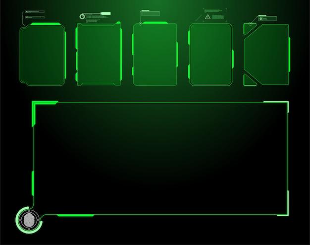 未来のhudインターフェイス画面。デジタル吹き出しのタイトル。 hudのui gui未来的なユーザーインターフェイス画面の要素を設定します。ビデオゲームのハイテク画面。 sfコンセプトデザイン。 Premiumベクター
