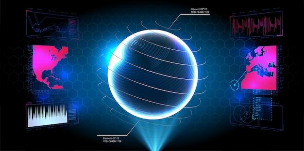 未来的なhudインターフェース画面。デジタル吹き出しのタイトル。 hud uiguiの未来的なユーザーインターフェイス画面要素セット。ビデオゲーム用のハイテク画面。サイエンスフィクションの概念。 Premiumベクター