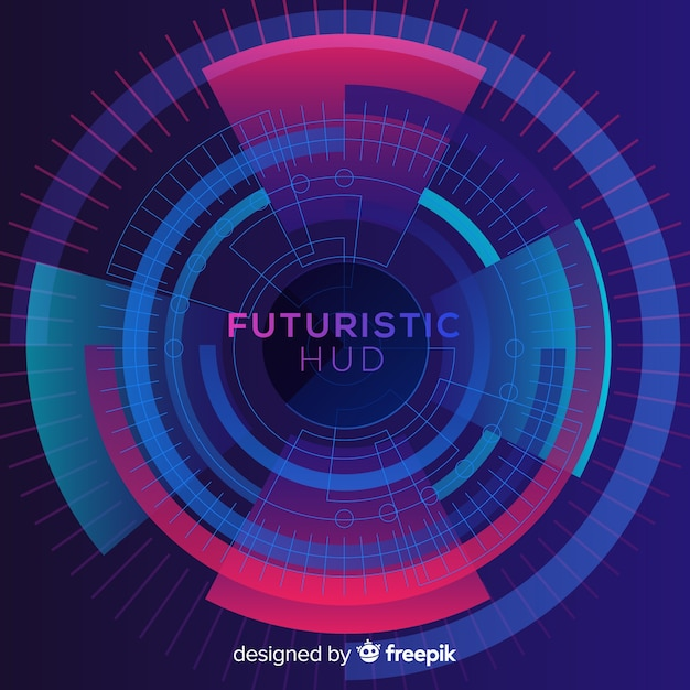 Futuristic hud interface with gradient style Free Vector