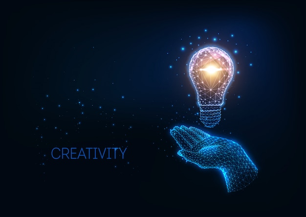 Futuristic idea, background with glowing low polygonal light bulb and human hand. Premium Vector