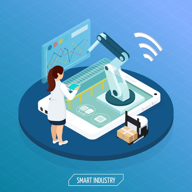 Futuristic industry isometric concept Free Vector