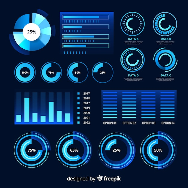 Futuristic infographic element collection Free Vector