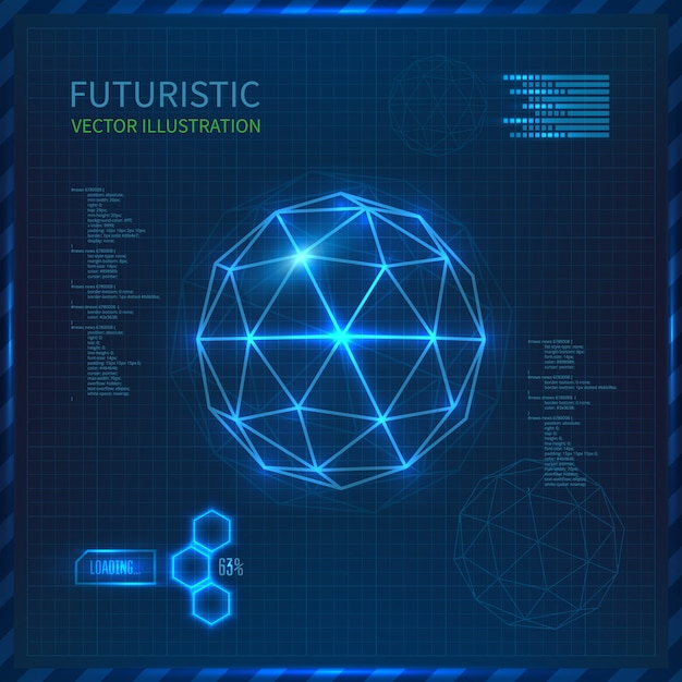 Futuristic interface with vector sphere with triangles Premium Vector