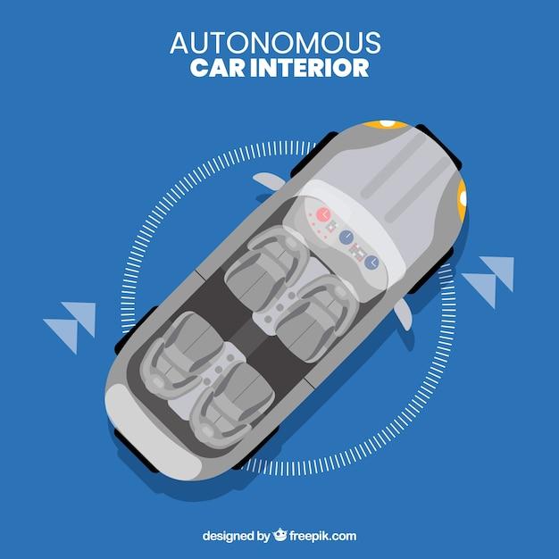 Futuristic Interior Design Of Autonomous Car Vector Free Download