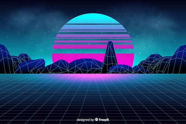 Futuristic landscape background in retro style Free Vector