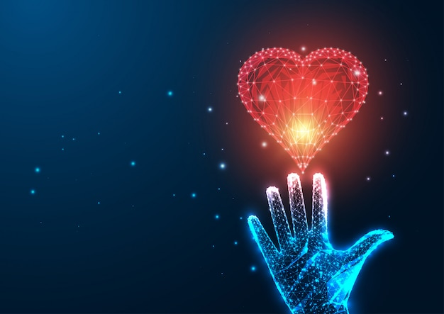 Futuristic love concept with glowing low polygonal female hand reaching red heart Premium Vector