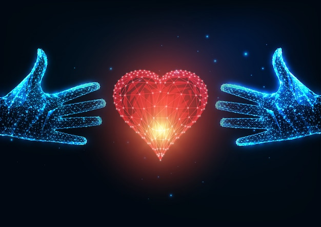 Futuristic love concept with glowing low polygonal two human hands trying to reach a red heart Premium Vector