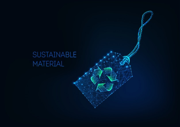 Futuristic low poly retail price tag with green recycle sign sustainable material, recycled fabric. Premium Vector