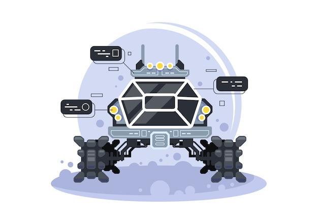 Футуристический луноход. специальное оборудование для освоения космоса, иллюстрация вездехода для путешествий и исследований инопланетян. Premium векторы
