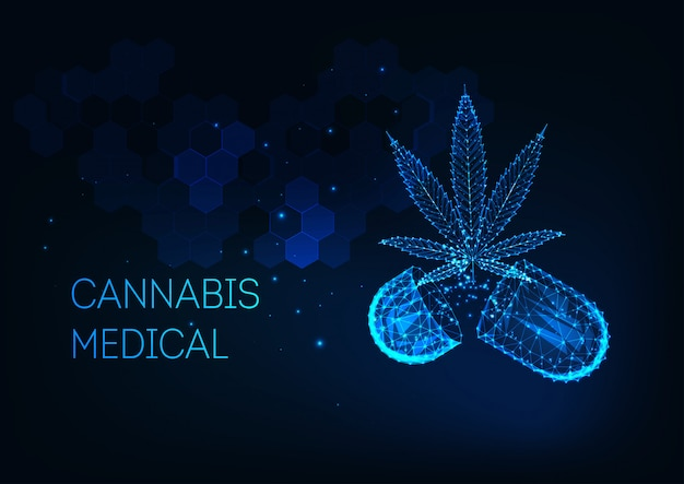 Futuristic medical cannabis treatment concept with glowing low poly marijuana leaf and capsule pill Premium Vector