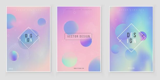 Futuristic modern holographic cover set. 90s, 80s retro style. Premium Vector
