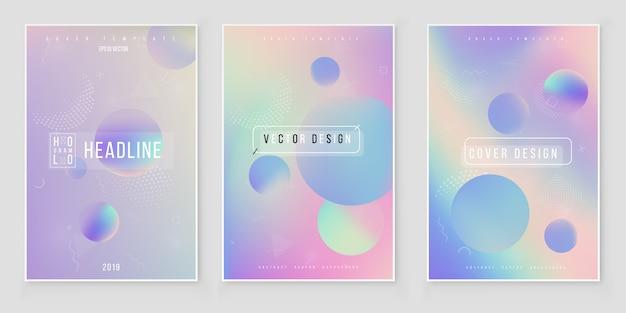 Futuristic modern holographic cover set. 90s, 80s retro style Premium Vector
