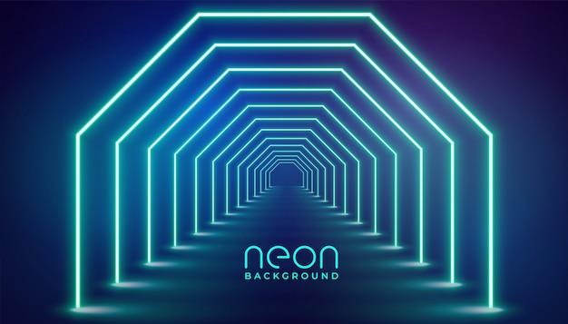 Futuristic neon geometric lights stage Free Vector