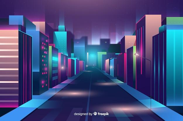 Futuristic night city background Free Vector