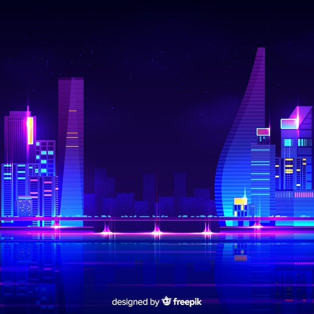 Futuristic night city background Free Vector
