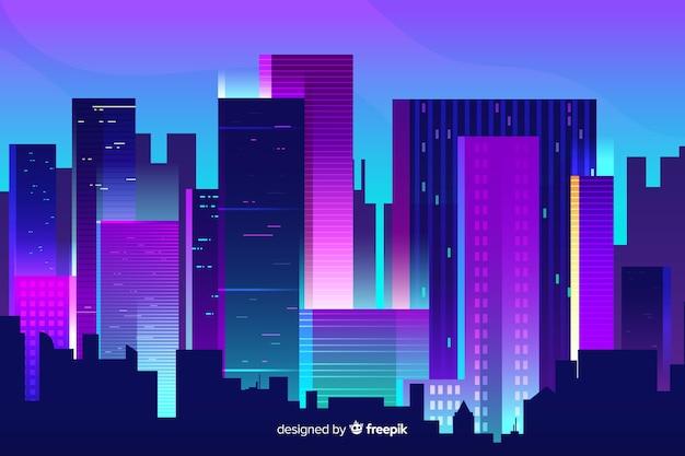Priorità bassa futuristica della città di notte Vettore gratuito