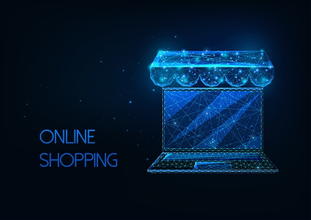 Futuristic online shopping concept with glowing low polygonal laptop Premium Vector