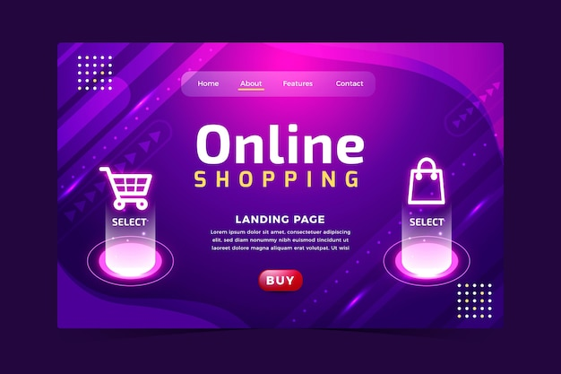 Futuristic online shopping landing page Free Vector